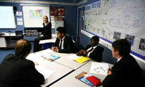 There are few statutory aspects of global awareness in key stages 3 and 4 of the citizenship course beyond human rights. Photograph: Graham Turner for the Guardian