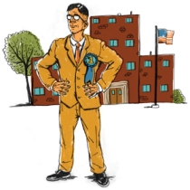 high school principal illustration